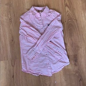 Button up pink and white plaid shirt